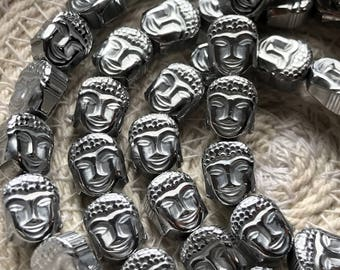 Hematite Silver Plated Buddha Head, 8/6 mm, Qty. 10 Beads, Double-Sided Buddha Head, Dakota Stones