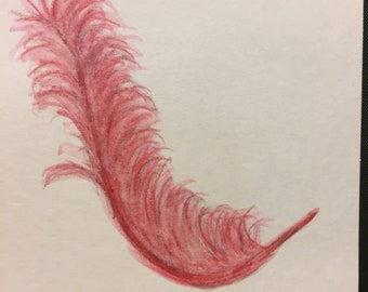 Hand Painted Gift Card with Envelope Featuring  Pink Feather