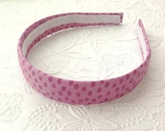 Fabric headband: plum headband, purple headband, big girl headband, fabric covered plastic headband. Wide headband, hard headband. Big girl