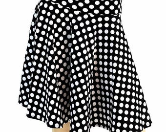 "19"" Black & White Polka Dot Retro Pinup Skater Skirt Full Circle Stretchy - 154724"