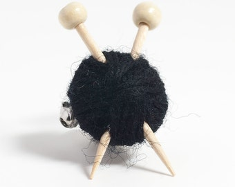 Black Knitting Brooch - Ball of Yarn and Needles