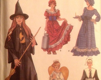 Girls' Costume Sewing Pattern Pilgrim Angel Witch Homestead Lady 2-4, 6-8, 10-12 UNCUT 2003 Dress Cape Hat Apron Collar