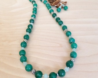 Green Jade Necklace Set Green Jewelry Set Green Gemstone Bead Necklace Green Necklace Semi Precious Stone Necklace Wedding Jewelry Gift Wife