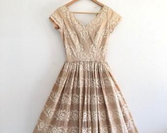 Vintage 50's White Lace Tea Length Wedding Dress S M