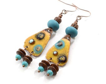 Handmade Earrings, Enameled Earrings, Yellow and Turquoise Earrings,  Boho  Earrings, Antique Copper Earrings, Artisan Earrings, AE219
