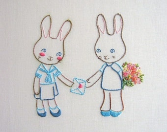 Bunnies in Love Embroidery Pattern PDF