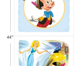 Disney Fabric Pinocchio Half Panel in Blue From Camelot 100% Premium Cotton