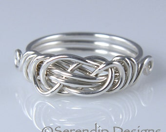 Sterling Silver Knot Ring, Celtic Knot Ring, Lovers Knot Ring in Your Size, Custom Knot Ring, Shiny Silver Knot Ring
