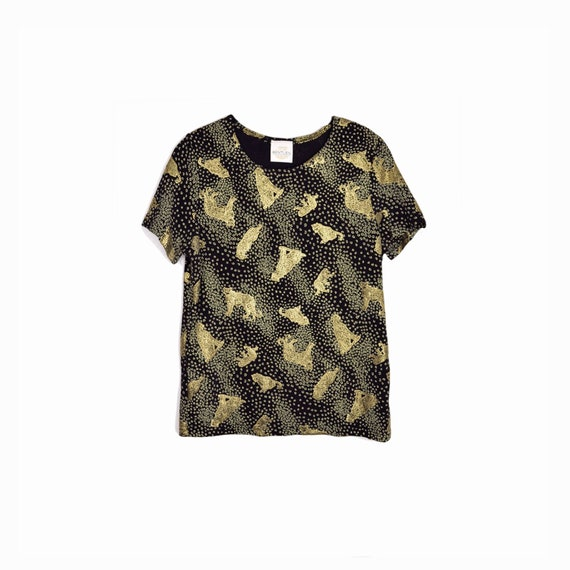 Vintage 90s Leopard Print Tee in Black & Metallic Gold / Stretchy Black Top - women's large