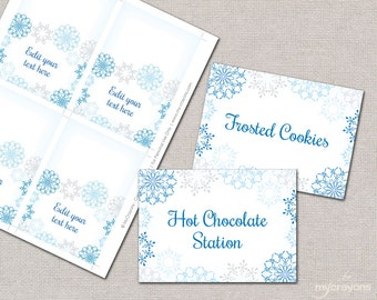 Snowflake Place Cards, Food Tent Cards // DIY Printable Food Labels, Snowflake Placecards // Blue and Gray, Winter Holiday Printable