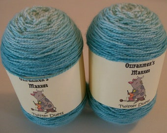 Twister Duets.  2 x 50gm matching skeins of gradient hand-dyed fingering weight yarn.  Perfect for socks or mittens.  Iceberg