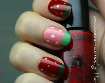 Sweet Strawberries Press On Nails | 2 Sets of Cute Kawaii Strawberry Nails |  Pink and Red Strawberry Fake Nails | Japanese Nail Art