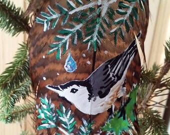 Nestled Nuthatch Original Feather Painting Nature Wildlife Bird Art Gift