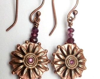Pink Suns - earrings gold and copper bronze faceted garnets and pink Zircon