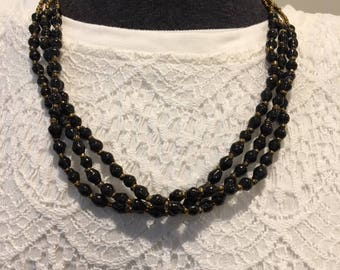 Triple-Strand Classic Black Recycled Paper Bead Necklace, Handmade in Uganda