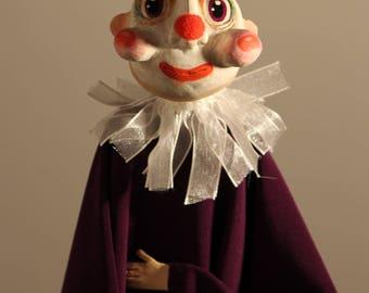 Clown Puppet Art Doll, Hair on Top