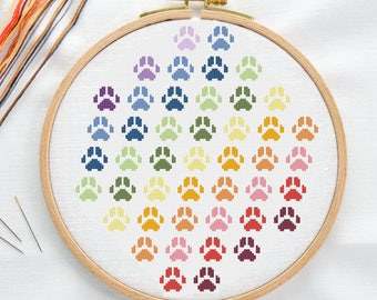 Rainbow Paw Print Cross Stitch Pattern