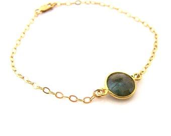 Labradorite Gemstone Gold Filled Chain Dainty Bracelet - Gift for Her