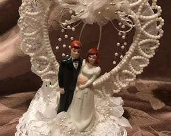 Vintage Wedding Cake Topper Red Hair Bride and Groom