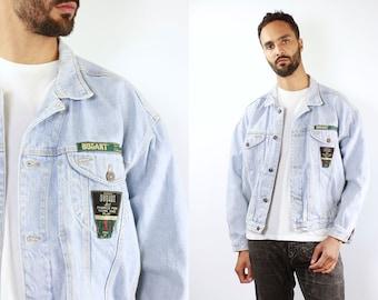 Denim Jacket Vintage Denim Jacket Retro Jean Jacket 90s Denim Jacket 90s Jean Jacket Light Blue Jean Jacket Medium Denim Jacket Grunge 80s