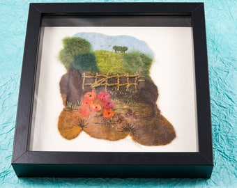 Original textile art handmade Merino wool felt landscape looking over a fence at a knoll on a hill scene picture framed