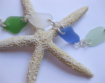Sterling Silver  Sea Glass Bracelet - beach glass jewelry seaglass Beach Glass Jewelry, Handmade Custom Jewelry