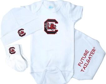 South carolina baby etsy south carolina gamecocks 3 piece baby gift set negle Gallery