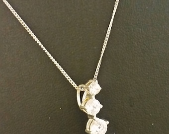 Hallmarked Sterling Silver 925 and Cubic Zirconia Necklace