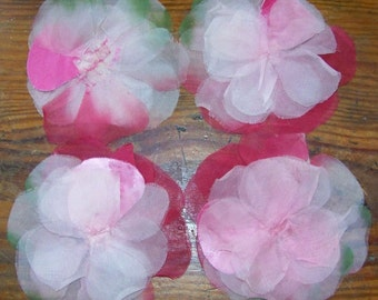 PRETTY IN PINK VINTAGE FABRIC FLOWERS...ORGANZA, FASCINATOR, MILLINERY