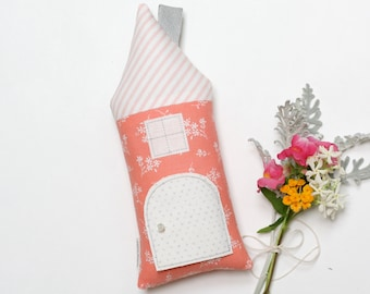 Tooth Fairy Pillow, Coral Peach Gray House Pillow,Tooth Fairy Door, Gift For Kids, Children's Stuffed Toy, Secret Fairy Door, Kid Room Decor