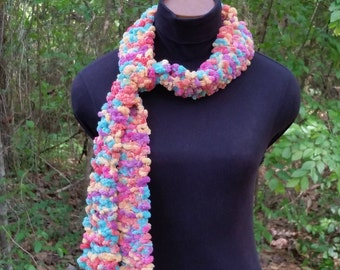 Knitted Skinny Scarf in Great Spring and Summer Colors