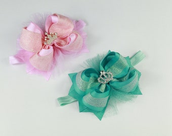 Pink Bow Headband, Turquoise Headband, Baby Girl Headband, Newborn Headband, Baby Shower Gift, Headbands for Baby, Infant Toddler Headband
