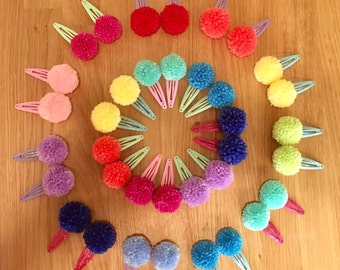 Pom pom hand made hair clips (pair)