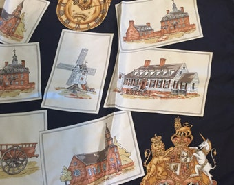 Vintage James Craig Williamsburg silk scarf -great commemorative scarf of Colonial Williamsburg