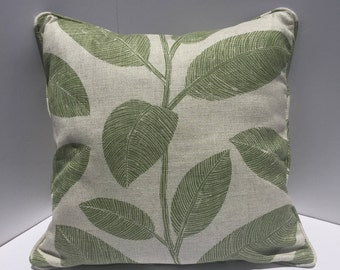 Green and off- white/ light Gray  Komodo leaves pillow cover  18x18