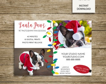 Santa Paws Pet Photography Mini Sessions - 7x5 Photoshop template - INSTANT DOWNLOAD