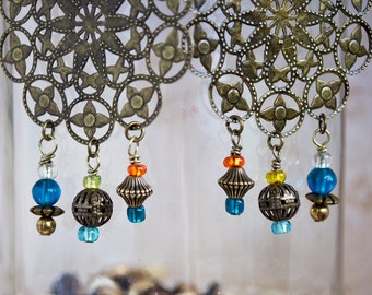 Large Medallion Earrings with Glass and Metal Fringe Dangles, Boho Chic Jewelry, Gypsy Earrings