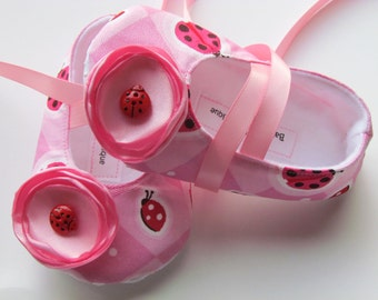 Pink Ladybug Baby Shoes - Soft Ballerina Slippers