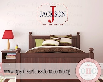 Rectangle  and Polka Dot Monogram Initial and Name Wall Decal - Small to Large Size Monogram Vinyl Wall Decal for Girl or Boy FN0574