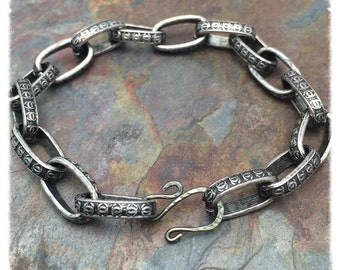 Chunky Art Deco Etched Bracelet in Antique Silver, Brass, or Copper  Your Choice, Adjustable