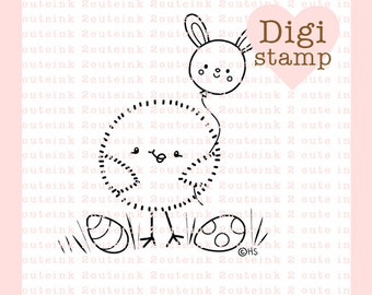 Chickie Balloon Digital Stamp for Card Making, Paper Crafts, Scrapbooking, Stickers, Coloring Pages