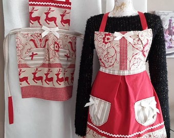 Kitchen apron, mother and daughter, grandmother and granddaughter, reindeer, red and beige cotton