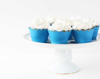 Blue Cupcake Wrappers Aqua Blue Party Supplies Cupcake Liners Boy Baby Shower Decor Nautical Party 4th of July Birthday Party / Set of 12