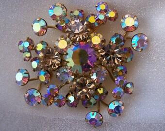 Designer, Triad Brooch, AB Chanton, Dog Tooth,  High Fashion, Hallmarked, High End Jewelry, Glamorous, Colorful,