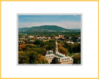 Penn State campus photo as seen from the air, showing Old Main and Mount Nittany - Hand Signed and Titled (11x14 matted photograph)