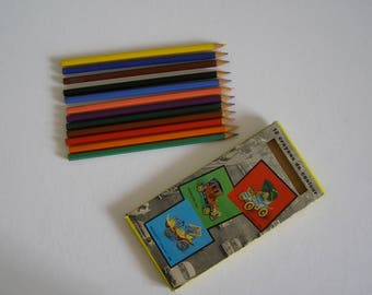 old color colored pencils crayons - box pencil color antiquityfrench pencils Made in France-drawings/blotting paper/ink blue