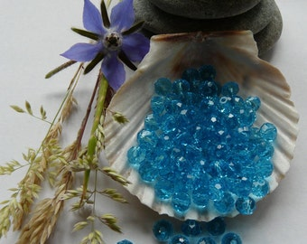 20 Blue Glass Crystal Faceted Beads 6mm
