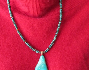 Beautiful Handmade Turquoise Amber and Copper Necklace