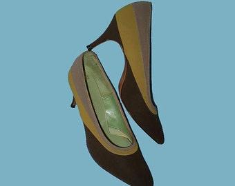 Vintage 60s Tri Tone High Heel Shoes 5 Corfam Suede