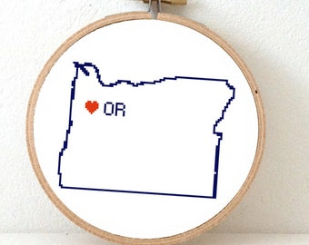 OREGON Map Cross Stitch Pattern. Oregon art pattern. Oregon ornament pattern with Salem. Go Away gift